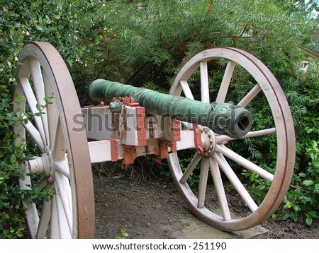 An ancient cannon on wheels