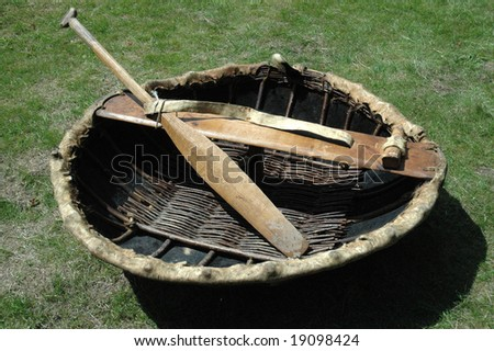 An ancient coracle boat