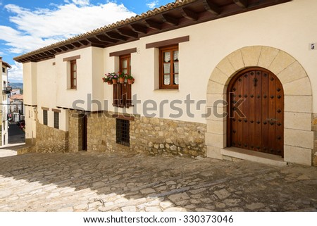 An ancient door in Morella, the province of Castellon, Spain. - stock photo