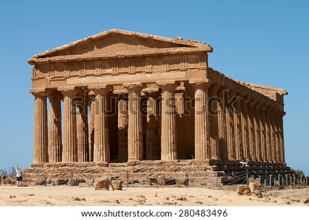 An ancient Greek Doric temple of Concordia in Agrigento, Sicily, Italy - stock photo