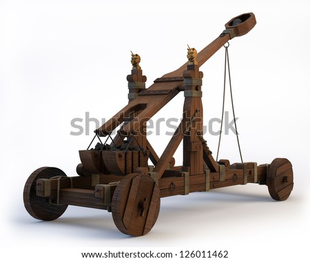 An ancient Norman Catapult isolated on a white background. Clipping path is included. - stock photo