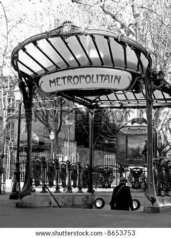 an ancient parisian subway station entrance at Montmartre - stock photo