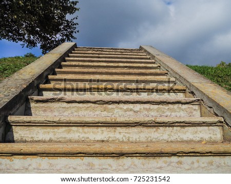 An Ancient Staircase, Disappearing Into The Sky. Stairway To Heaven.