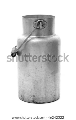 an ancient steel milk jug typical of spain - stock photo