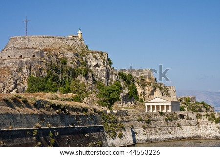 An ancient temple on the coast of the Greek island of Corfu - stock photo