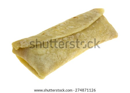 An angle view of a chimichanga chicken cheese wrap. - stock photo