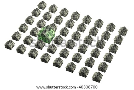 An angled grid of houses made out of 100 dollar American bills with one larger house representing more value or more expense - stock photo