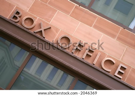 An angled view of an outdoor art deco copper theatre BOX OFFICE sign - stock photo