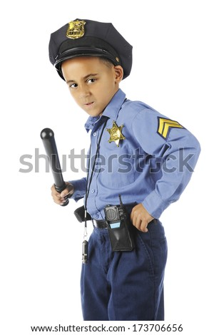 "An angry looking elementary ""policeman"", intensely gripping his billy club. On a white background."