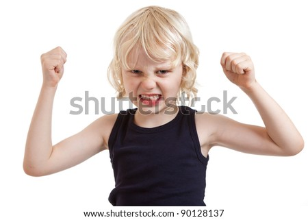 An angry mean looking boy flexing his muscles. Isolated over white. - stock photo