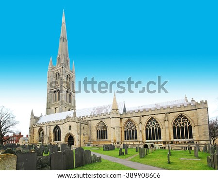 An anisotropic digital illustration of the Parish Church of St. Wulfram, Grantham, Lincolnshire, UK. One of two churches dedicated to him in England - stock photo