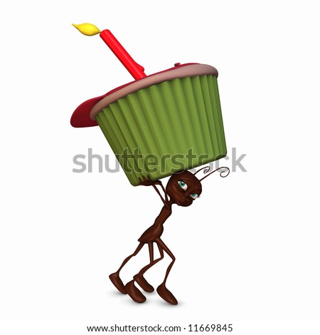 An ant running with a cupcake with a lit candle and candy sprinkles.