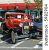 An antique car show in a small town in New Jersey - stock photo