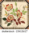 An antique decorative tile with dog rose design c1880 - stock photo