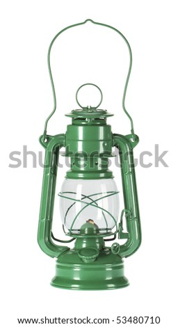 An Antique Hurricane Oil Lamp Which Is Very Useful For A Camping, On  Isolated White