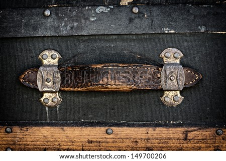 An antique leather handle of a vintage suitcase.  A great texture image for a background  - stock photo
