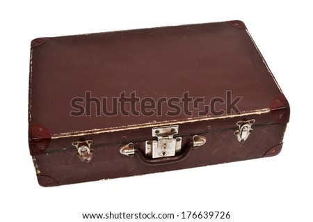an antique suitcase on a white background