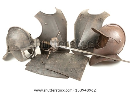An Antique 17th Century English Civil War Period Close Helmet, Lobstertail Cavalry Helmet, Breastplates, Tassets and Spanish Cup-hilt Rapier on White Background - stock photo