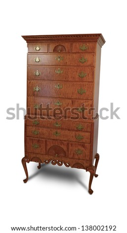 An antique wooden cabinet  isolated on white - stock photo