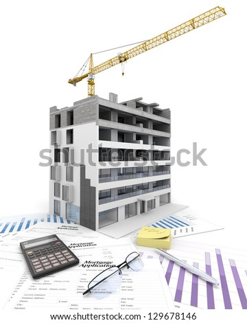 An apartment block in construction, on top of graphics and a mortgage application form - stock photo