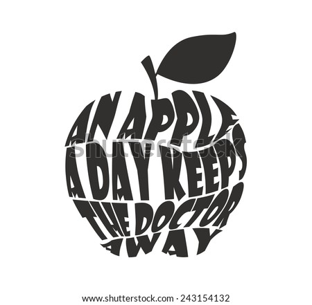 An apple a day keeps the doctor away on white background - stock photo