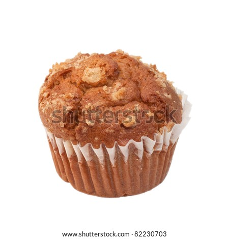 An apple muffin isolated on white.
