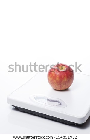 an apple on Bathroom scale