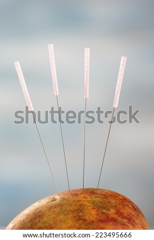 An Apple that could represent a soft part of a body is pierced by a group of acupuncture needles. - stock photo