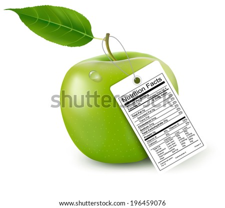 An apple with a nutrition facts label.  Raster version - stock photo