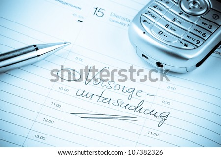 an appointment is entered on a calendar: screening