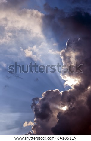 An approaching storm front turns day into night with a warning of coming danger. - stock photo