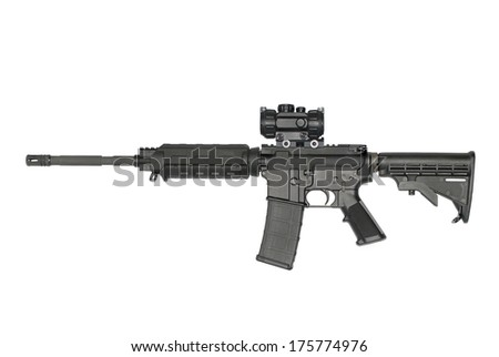 An AR-15 semi-automatic rifle, with optic,  isolated on white. - stock photo