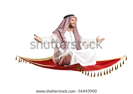 An Arab person sitting on a flying carpet isolated on white background