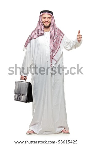 An arab person with a thumbs up isolated on white background [May be offesive gesture in Middle Eastern Countries and Internationally] - stock photo