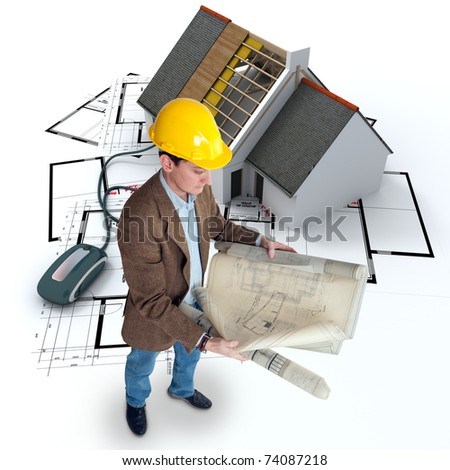An architect, blueprints and a house in construction connected to a computer mouse