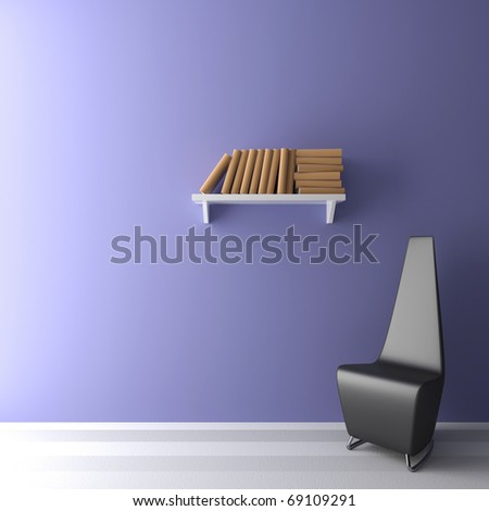 An arm-chair and books is in an empty room - stock photo