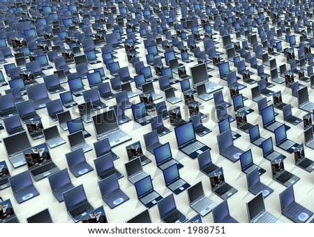 An Armada of laptops. By adjusting the output level sliders in PhotoShop, effective text background for reports can be created