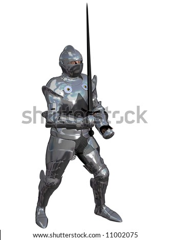 An armoured knight poses with a long sword (3)