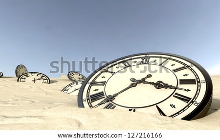 An array of half buried antique clocks scattered across a sandy desert landscape under a blue sky - stock photo