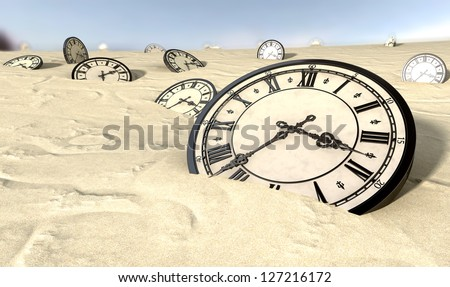 An array of half buried antique clocks scattered across a sandy desert landscape under a blue sky - stock photo