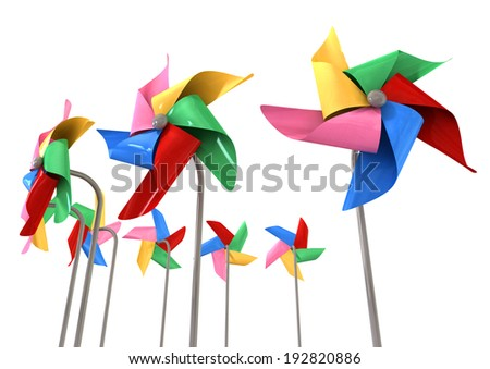 An array regular toy pinwheel windmills with five differently colored vanes on sticks on an isolate white background - stock photo