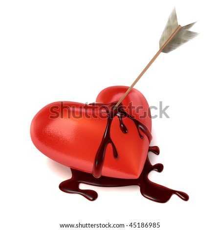 An arrow sits in a lying and bleeding Heart. Blood is running down on the sides creating a puddle of blood. - stock photo