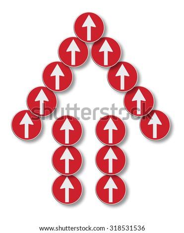 An arrow symbol composed of many arrows - stock photo