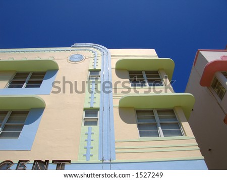 An Art Deco building on Ocean Avenue in South Beach, Miami, Florida. - stock photo