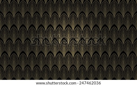 An art deco styled wallpaper pattern in gold and black - stock photo