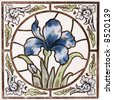 An Art Nouveau original tile dating around 1895 with Iris flower design - stock photo