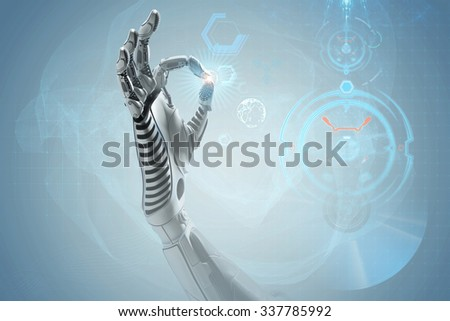 An artificial hand showing OK gesture. Robotic mechanical virtual life. Cybernetic futuristic user interface. Technological shining background for your design. - stock photo