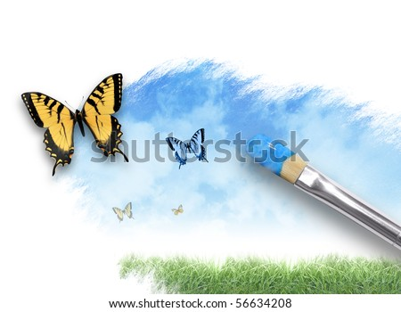 An artist paintbrush is painting a spring, summer nature scene on a white isolated background. There are butterflies coming out of the paint splatter. Use it for creative or imagination concept. - stock photo