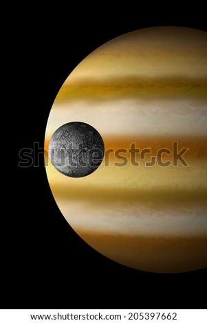 An artist's depiction of a giant gas planet in black space with a heavily cratered moon orbiting. Some elements courtesy of NASA
