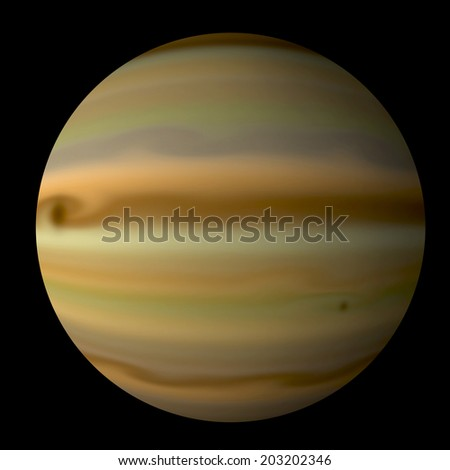 An artist's illustration of a Jupiter like gas giant alone on the black background of deep space. - stock photo
